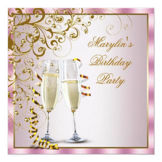 O ouro cor-de-rosa peroliza a festa de aniversário convite quadrado 13.35 x 13.35cm