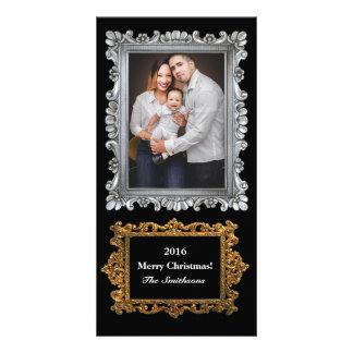 O ouro de prata elegante molda o feriado vertical cartão com foto