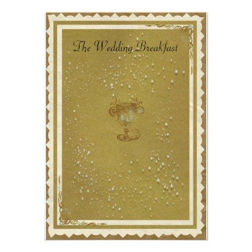 O ouro & desnata o pequeno almoço do casamento convites personalizados