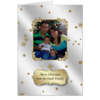 O ouro do brilho Stars o cartão do Natal da foto