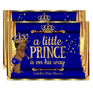 O ouro dos azuis marinhos drapeja o príncipe chá convite 12.7 x 17.78cm