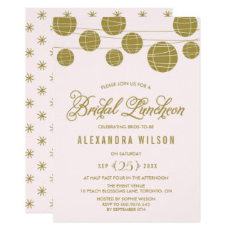 O ouro e cora almoço nupcial de suspensão das convite 12.7 x 17.78cm