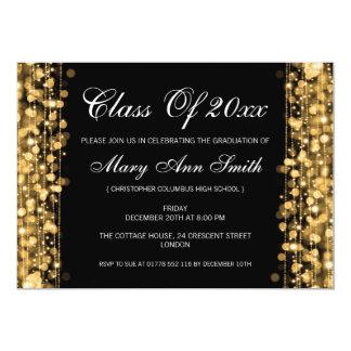 O ouro elegante da festa de formatura ilumina-se & convite 12.7 x 17.78cm