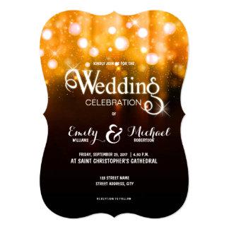 O ouro elegante do casamento ilumina o fundo do convite 12.7 x 17.78cm
