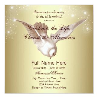 O ouro elegante mergulhou em memorial Loving da Convite Quadrado 13.35 X 13.35cm