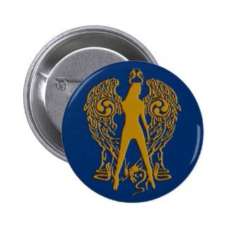 O ouro grava o botão do anjo da serpente bóton redondo 5.08cm