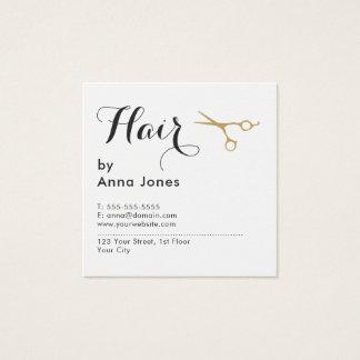 O ouro limpo elegante simples Scissors o Cartão De Visitas Quadrado