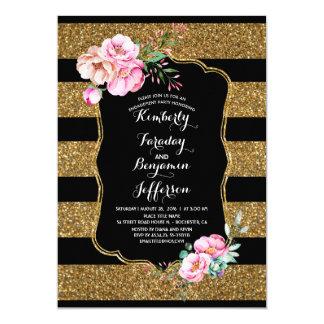 O ouro listra a festa de noivado floral do vintage convite 12.7 x 17.78cm