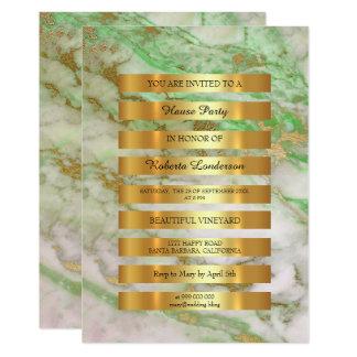 O ouro luxuoso mínimo listra o mármore branco Vip Convite 12.7 X 17.78cm