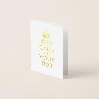 O ouro mantem a calma e o seu texto cartão metalizado