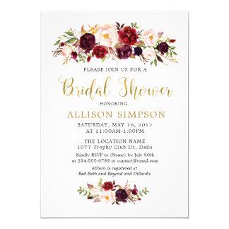 O ouro Marsala floresce convites de BridalShower