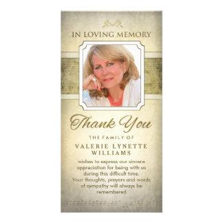 O ouro nota cartões de agradecimentos memoráveis cartão com foto