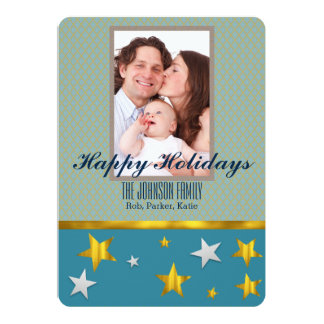 O ouro personalizado Stars boas festas o cartão
