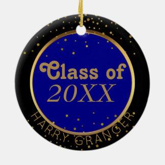 O ouro pontilha a classe azul de lembrança da ornamento de cerâmica