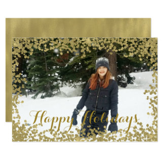 O ouro ramifica cartões de foto de Natal do Convite 12.7 X 17.78cm