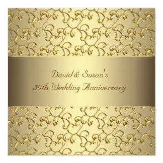 O ouro roda festa de aniversário do casamento do convites personalizado