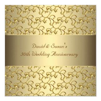 O ouro roda festa de aniversário do casamento do convite quadrado 13.35 x 13.35cm