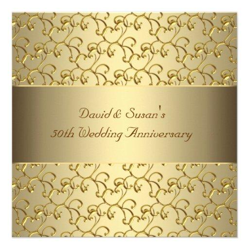 O ouro roda festa de aniversário do casamento do o convites personalizado