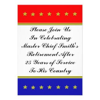 O ouro Stars a aposentadoria militar Convites Personalizado