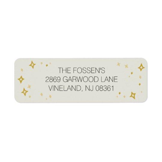 O ouro Stars a etiqueta de endereço