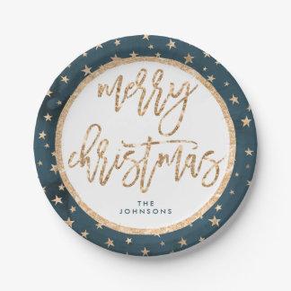 O ouro Stars as placas de papel do Feliz Natal da