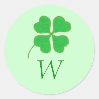 O ouro verde do trevo pontilha selos do casamento adesivo