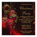 O ouro vermelho Ornaments a festa de Natal Convite Personalizados