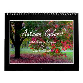 O outono colore o calendário 2018 mensal