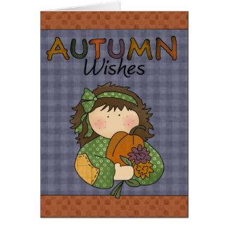O outono da coleção da queda do outono deseja o cartão comemorativo