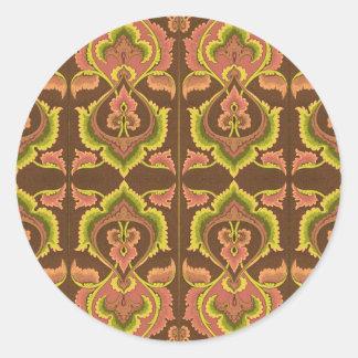 O outono exótico do vintage colore o amarelo verde adesivo redondo