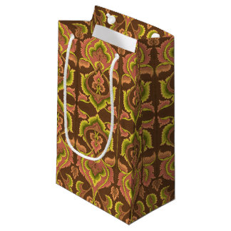 O outono exótico do vintage colore o amarelo verde sacola para presentes pequena