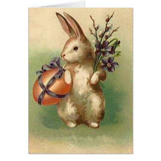 O ovo da páscoa do coelhinho da Páscoa do vintage Cartão Comemorativo