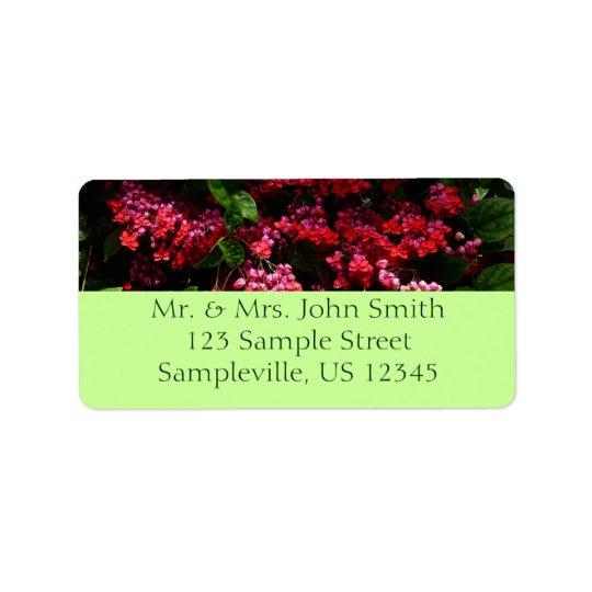 O pagode floresce floral vermelho e cor-de-rosa etiqueta de endereço
