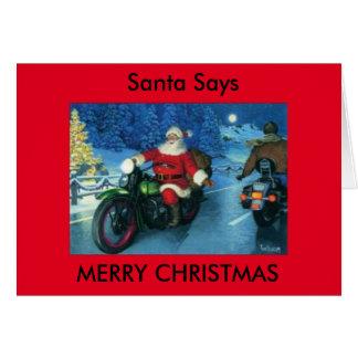 O papai noel diz o cartão da motocicleta do Feliz