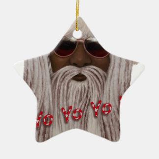 O papai noel (escuro) teme dentro - Yo Yo Yo! Ornamento De Cerâmica Estrela