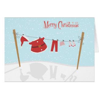 O papai noel sere no cartão de Natal do