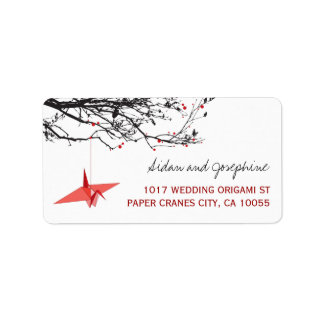 O papel vermelho Cranes etiquetas de casamento do