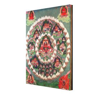 O paraíso de Shambhala, bandeira tibetana Impressão Em Tela