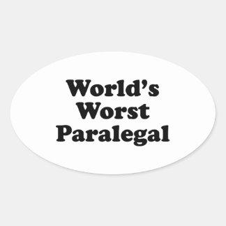 o paralegal o mais mau do mundo adesivo oval