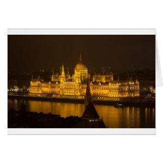 O parlamento húngaro Budapest em a noite Cartão Comemorativo