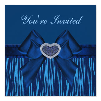 O partido animal azul do coração do impressão, do convites personalizados