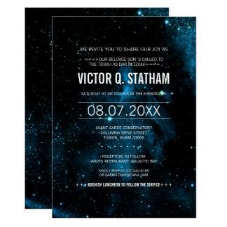 O partido azul de Mitzvah do bar da galáxia Convite 12.7 X 17.78cm