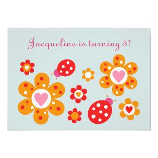 O partido bonito das flores da joaninha convida convite 12.7 x 17.78cm