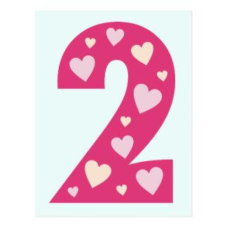 O partido cor-de-rosa feliz do cartão do número 2  cartao postal