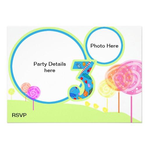 O partido de aniversário de 3 anos convida convite