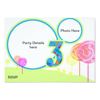 O partido de aniversário de 3 anos convida convite 12.7 x 17.78cm