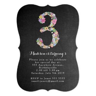 O partido de aniversário de 3 anos floral das convite 12.7 x 17.78cm