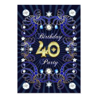 O partido de aniversário de 40 anos convida com convite 12.7 x 17.78cm