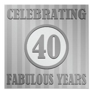 O partido de aniversário de 40 anos do convite quadrado 13.35 x 13.35cm