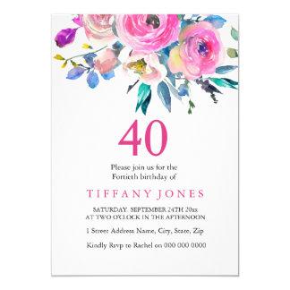 O partido de aniversário de 40 anos floral convite 12.7 x 17.78cm